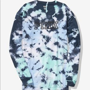 💕VS PINK BLUE TIE DYE LOGO CAMPUS TEE LONG SLEEVE